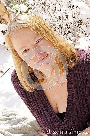 Woman posing in snow