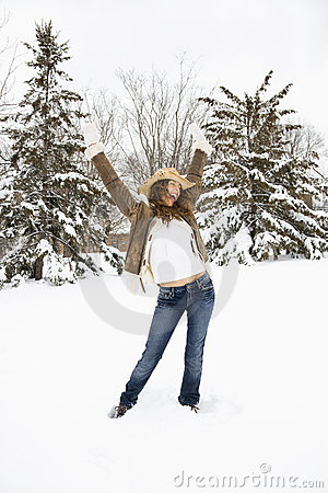 Woman posing in snow.