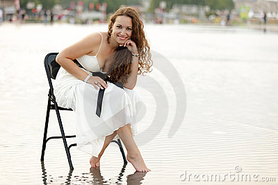 Woman posing on water