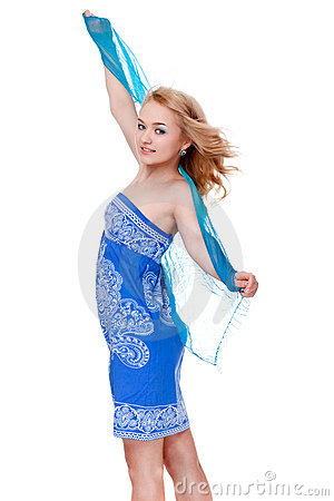 Woman posing wearing blue dress