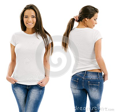 Free Woman Posing With Blank White Shirt Royalty Free Stock Images - 35171649
