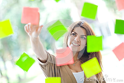 Woman with post-its
