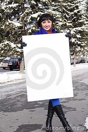 Woman with the poster