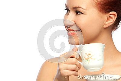 Woman potrait with tea cup