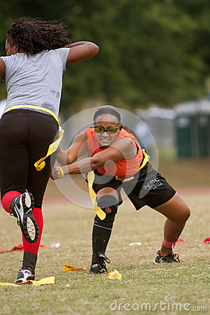 Woman Practices Flag Football Techniques Editorial Photo