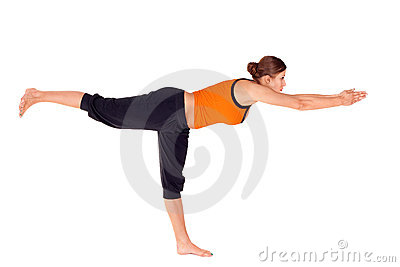 Woman Practicing Warrior Pose 3 Yoga Exercise