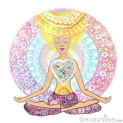woman practicing yoga hand drawn woman sitting in lotus
