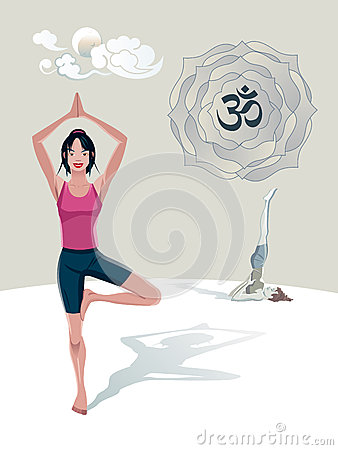 Woman Practicing Yoga Tree Asana Royalty Free Stock Photo - Image: 25376205