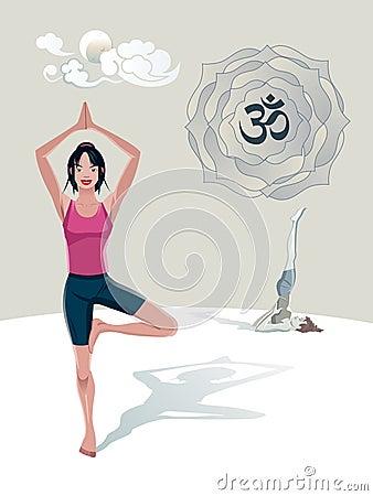 Woman Practicing Yoga Tree Asana