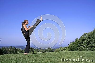Woman practising self defense