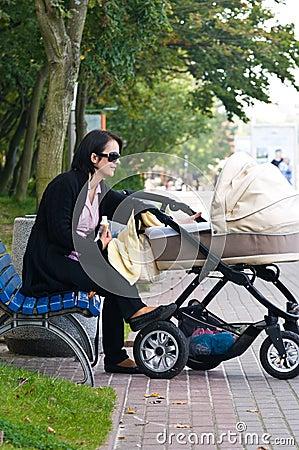 Woman with pram