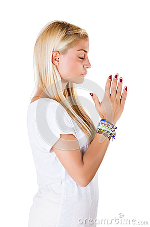 Woman pray his god