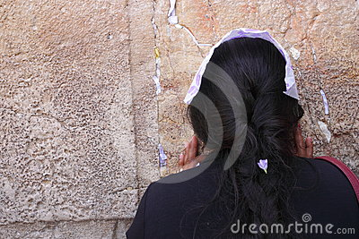 Woman pray near the Wailing Wall Editorial Image