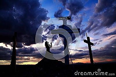 Woman Praying At Cross In Sunset Stock Image - Image: 32603361