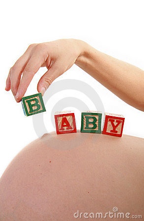 Woman pregnant and baby cube