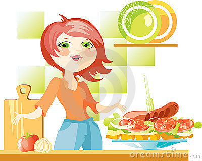 Woman prepare sandwich