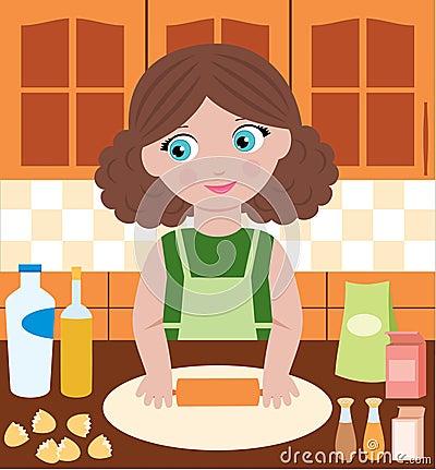 Woman prepares dough