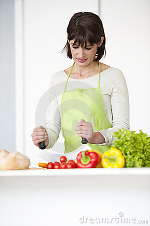 Woman Preparing Meal