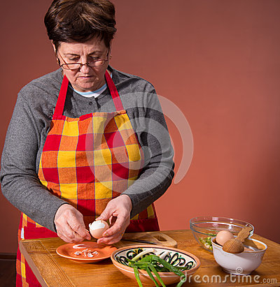 Woman preparing salad
