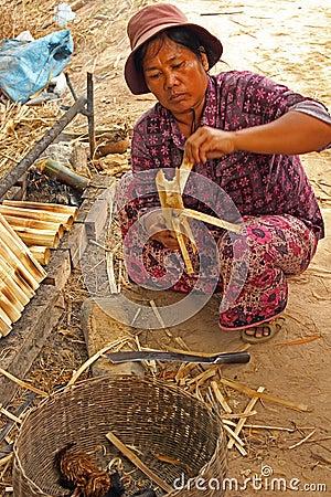 Woman preparing sticky rice Editorial Stock Image