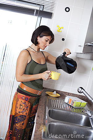 Woman preparing the tea