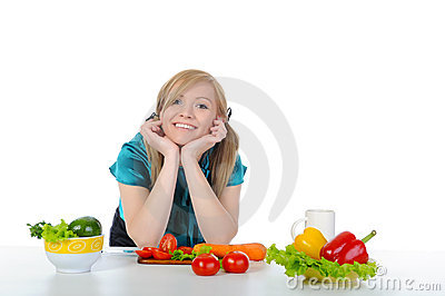 Woman preparing vegetables.