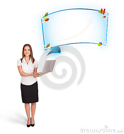 Woman presenting abstract copy space with graphs