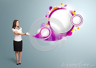 Woman presenting abstract speech bubble copy space