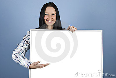 Woman presenting on blank banner