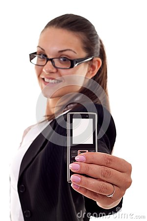 Woman presenting a mobile phone