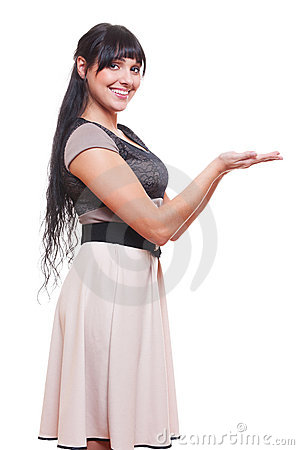 Woman presenting something on palm