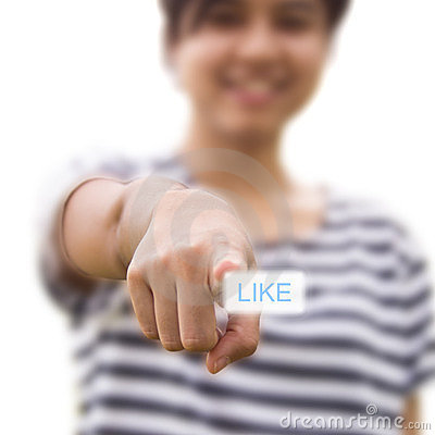 Woman pressing like button