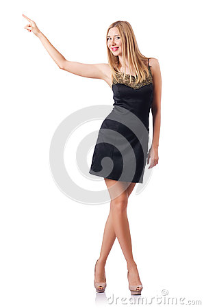 Woman pressing virtual buttons