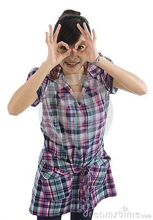 Woman pretending to wear glasses