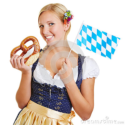 Woman with pretzel and bavarian flag