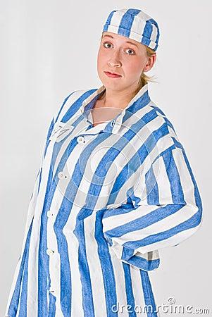 Woman in prison uniform