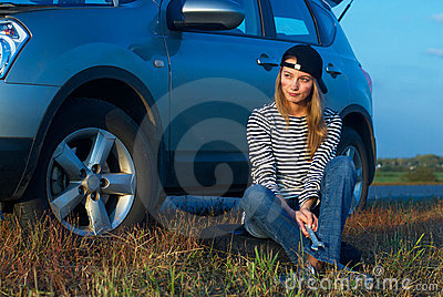 Woman and problem car