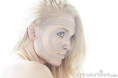 Woman profile high key portrait