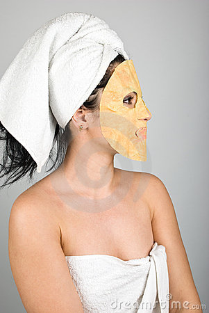 Woman profile with mask
