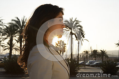 Woman Profile with Sun