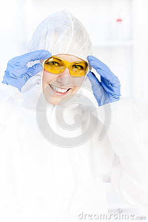 Woman with protective glasses