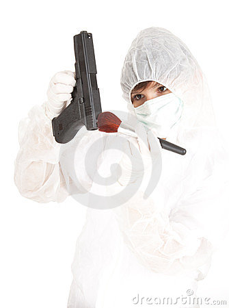 Woman in protective uniform and mask with gun