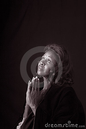 Woman Pryaing Black and White