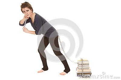 Woman pull books with chain