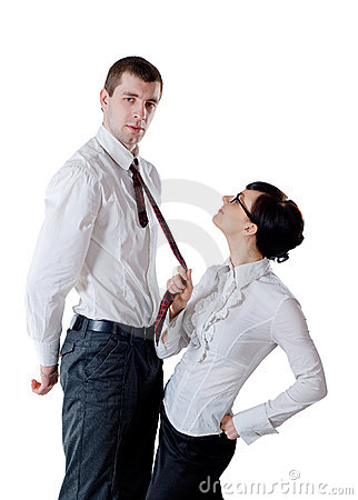 Woman pull a man by necktie