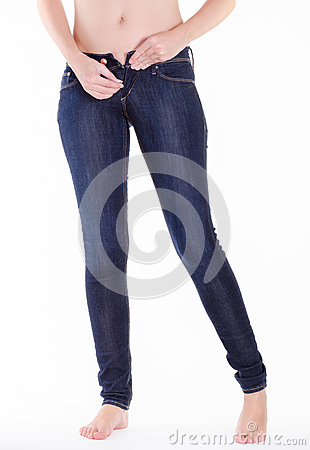 Woman pull up jeans