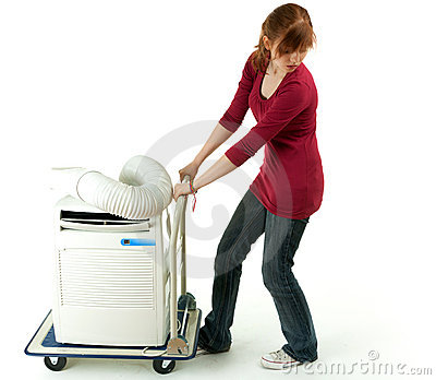 Woman pulling air conditioner