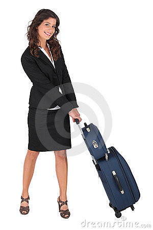 Woman pulling a carry-on case
