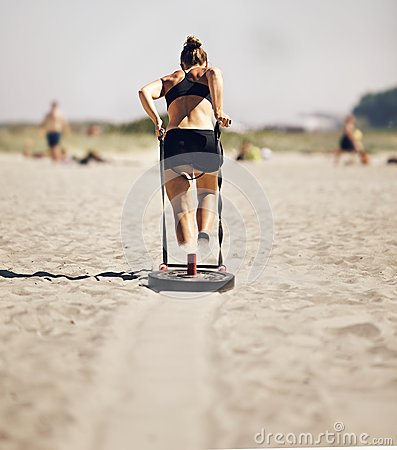 Woman Pulling Crossfit Sled