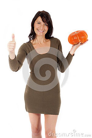 Woman with pumpkin